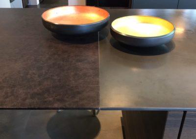 APL Messing mit Gasfeld Messing, Tisch in Leder